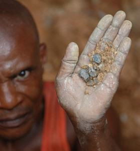 A worker at a wolframite mine in eastern DRC