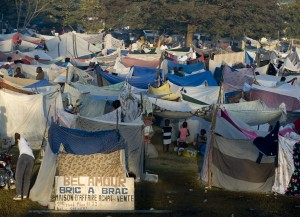 100119-N-6266K-020 PORT-AU-PRINCE, Haiti (Jan. 19, 2010) Hundreds of displaced Haitians live in make-shift homes outside Gheskio Field Hospital, located on Quisqueya University grounds, where International Medical Surgery Response Team (IMSuRT) technicians are providing emergency medical attention to Haitians following a 7.0 magnitude earthquake near Port-au-Prince on Jan. 12, 2010. The IMSuRT team is a national organization combining medical professionals from Boston and Seattle. (U.S. Navy photo by Mass Communication Specialist 1st Class Joshua Lee Kelsey/Released)