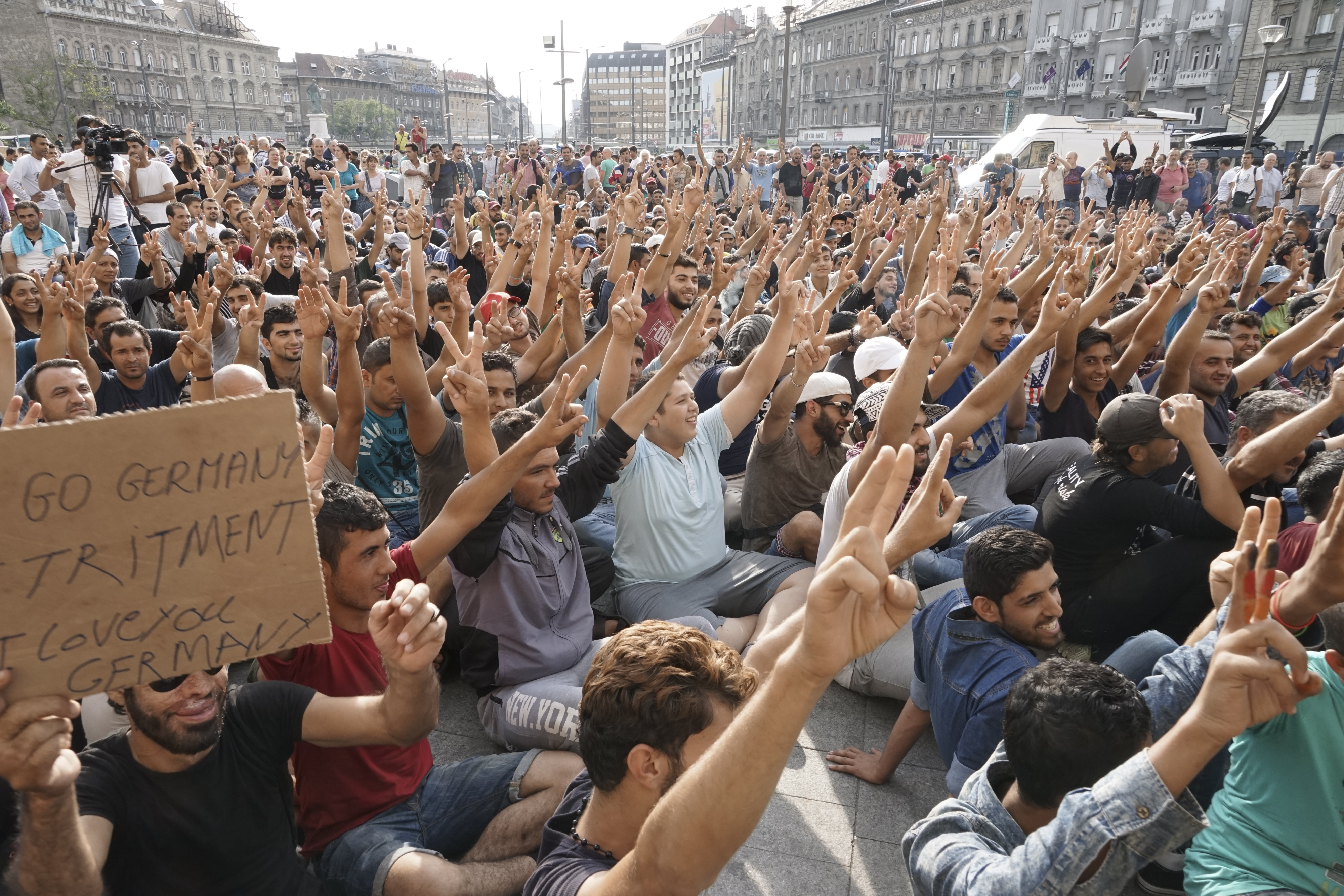 Syrian refugees strike in front of Budapest Keleti railway station. Refugee crisis. Budapest, Hungary, Central Europe, 3 September 2015. Licensed under Creative Commons