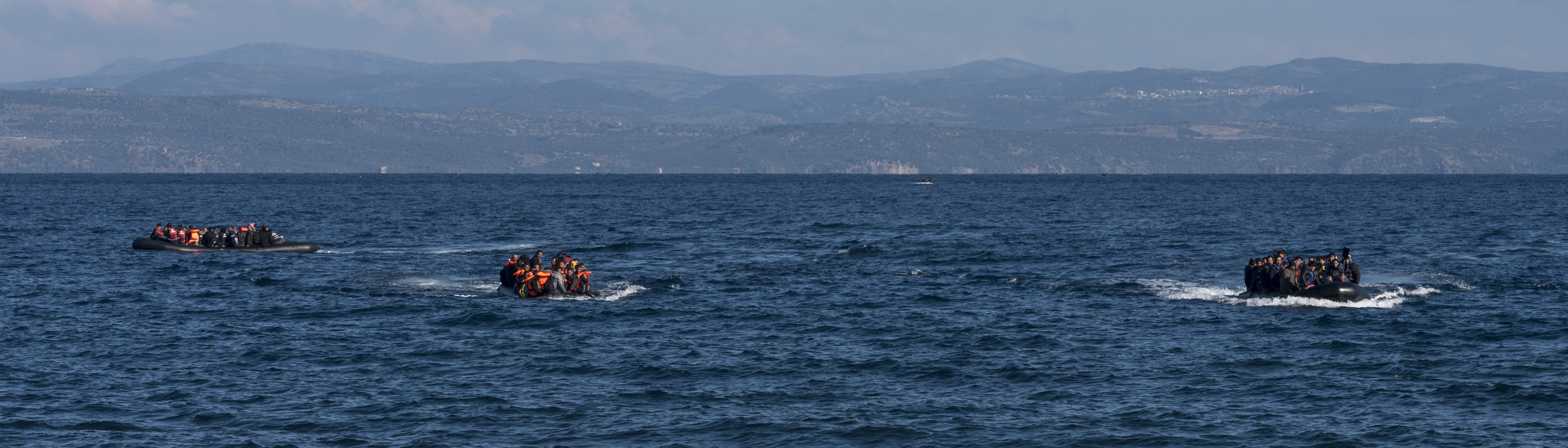 Asylum seeker boats crossing the Aegean Sea, headed for Lesvos. Creative Commons.