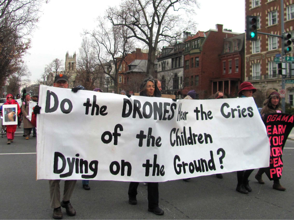 Washington DC residents protest US drone strikes during Obama's 2013 inauguration. Licensed under Creative Commons.