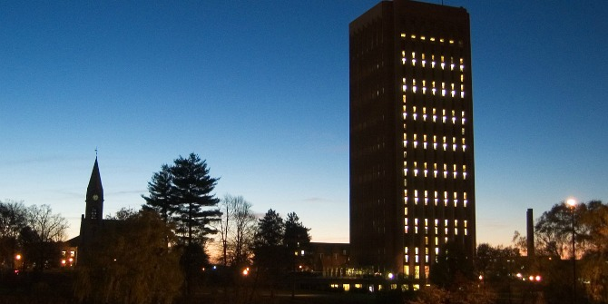 Umass_Amherst_Chapel_&_Library_in_the_evening