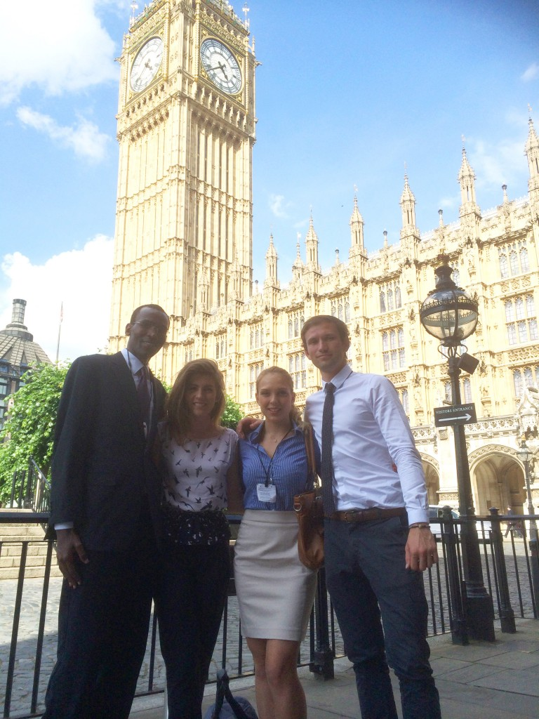 Four MSc IDHE students at Westminster following their presentation.