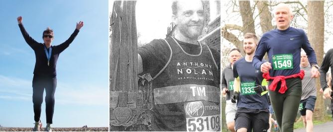 Left: Jude Howell, Brighton Marathon; Centre: Tim Allen, with nine of his ten medals; Right: Robert Wade, Regent's Park
