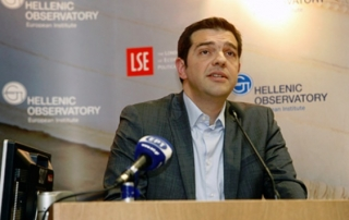 Alexis Tsipras speaking at the LSE in 2013
