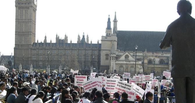 Pro-Tamil Demonstration London 2009. Photo Credit: Toban Black, via Flickr (https://www.flickr.com/photos/tobanblack/3472463799/) License:  Attribution-NonCommercial 2.0 Generic (CC BY-NC 2.0)