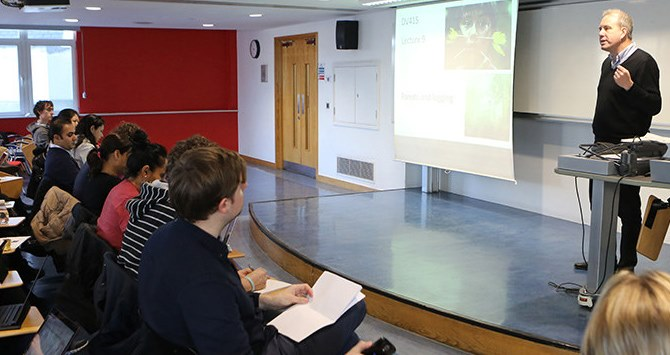 Tim Forsyth, Professor of Environment and Development, teaching in one of the classrooms in LSE St Clement's in the Department of international Development.