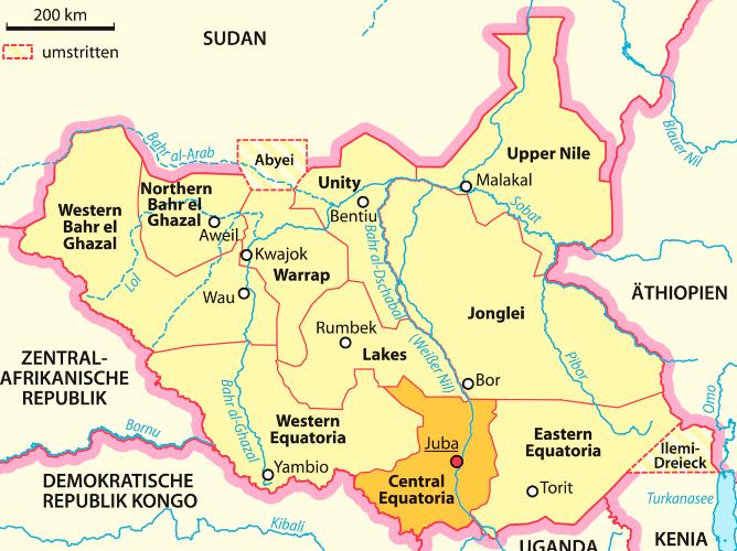 Map of Regions in South Sudan