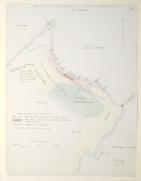 Map showing extent of Sultan's influence in Oman