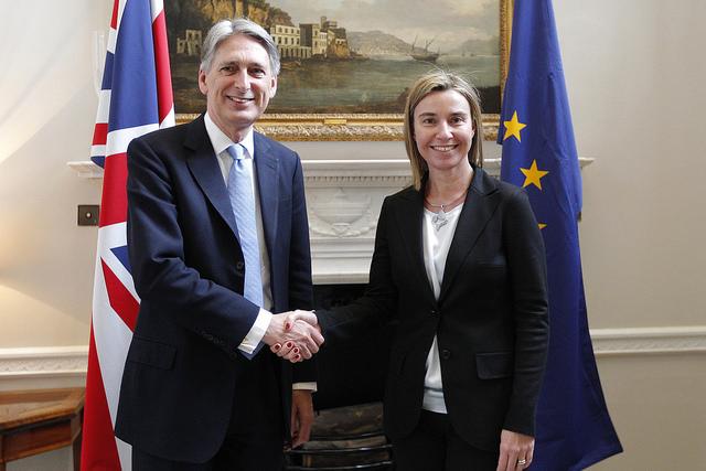 UK foreign secretary Philip Hammond and EU high representative Federica Mogherini