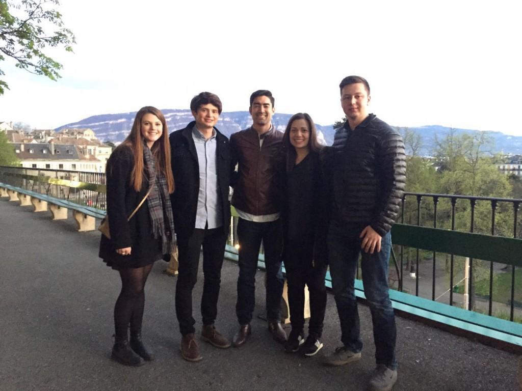 The team with coach. From left to right: Michelle Ryan, Peter Yates, Andre Nakazawa (coach), Ketevan Papashvili, Thomas Boley