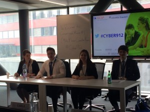 Just before the team's presentation. From left to right: Michelle Ryan, Thomas Boley, Ketevan Papashvili, Peter Yates