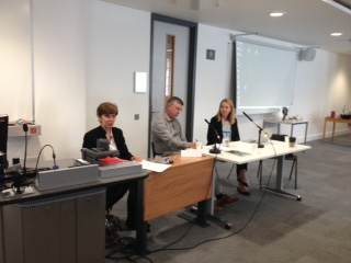 Participants of the workshop panel on the Donbas (from left to right): Dr. Elise Giuliano (Columbia University), Professor Andrew Wilson (University College London), and Dr. Olga Onuch (University of Manchester)