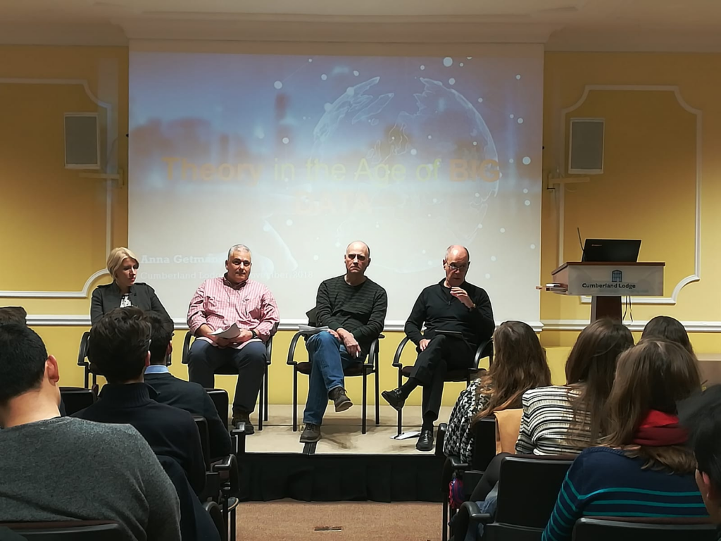 Discussion panel on IR Theory. From left to right: Dr Anna Getmansky, Professor Tarak Barkawi, Professor Chris Hughes and Professor Peter Trubowitz