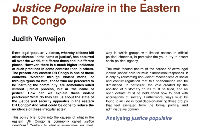 Between 'Justice' and 'Injustice': Justice Populaire in the Eastern DR Congo