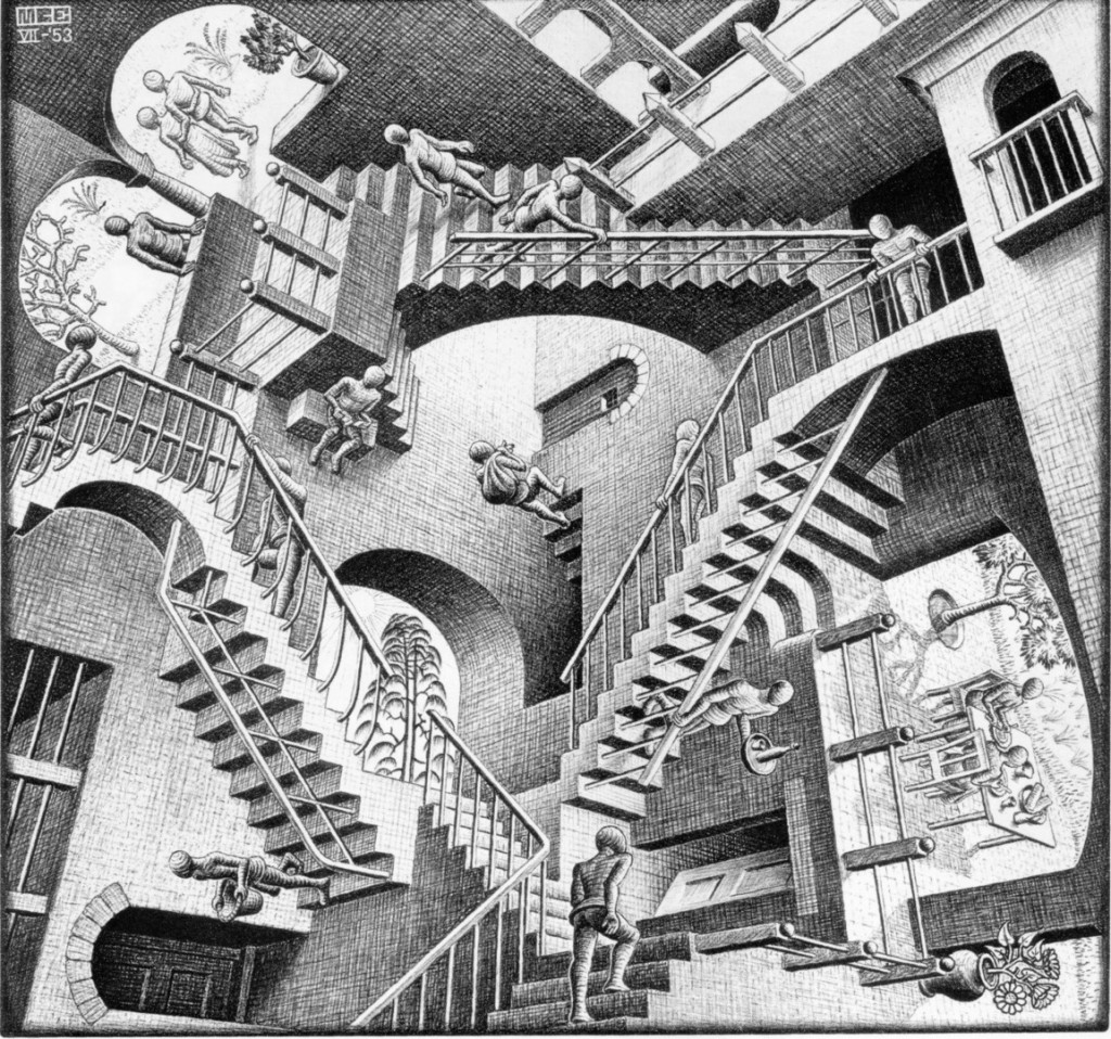 M. C. Escher - Relativity. From http://images.cdn.fotopedia.com/flickr-5230835657-hd.jpg