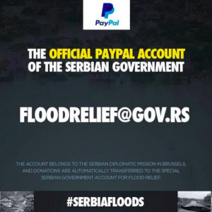 The Serbian Government opened a special PayPal service for donations