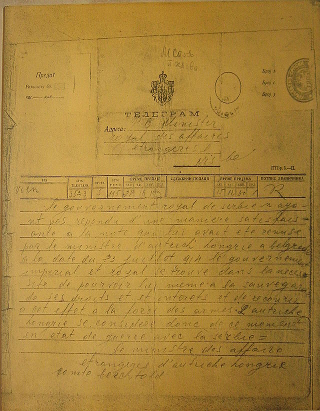 The Austro-Hungarian government's declaration of war in a telegram sent to the government of Serbia on 28 July 1914, signed by Imperial Foreign Minister Count Leopold Berchtold.