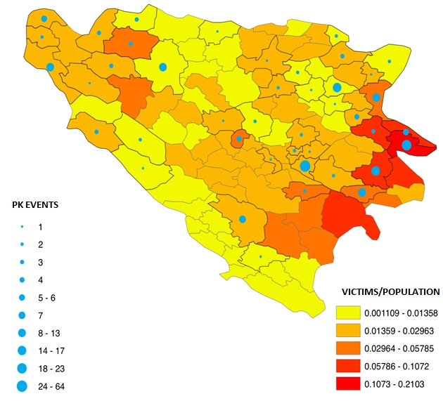 Figure: Map of violence and UN troop deployment in Bosnia-Herzegovina (1992-1995)