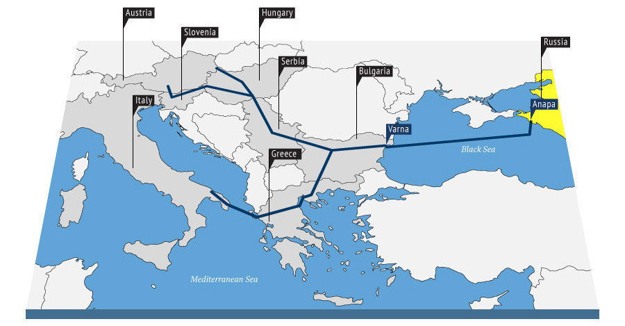 Map of the South Stream pipeline - RIA Novosti