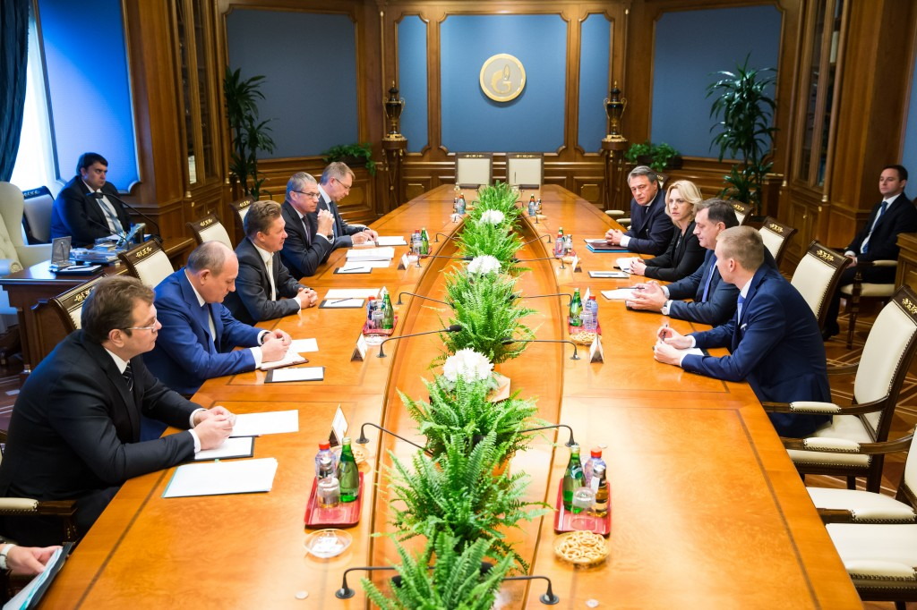 Working meeting between Alexey Miller, Chairman of the Company's Management Committee and Milorad Dodik, President of Republika Srpska (fot. Gazprom)