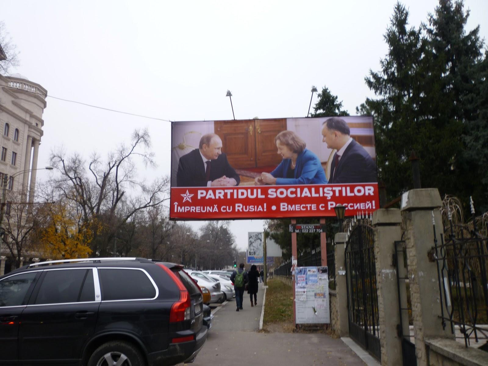 'Together with Russia', PSRM electoral posters featuring Vladimir Putin, Zinaida Greceanîi and Igor Dodon. Photo: Amy Samuelson