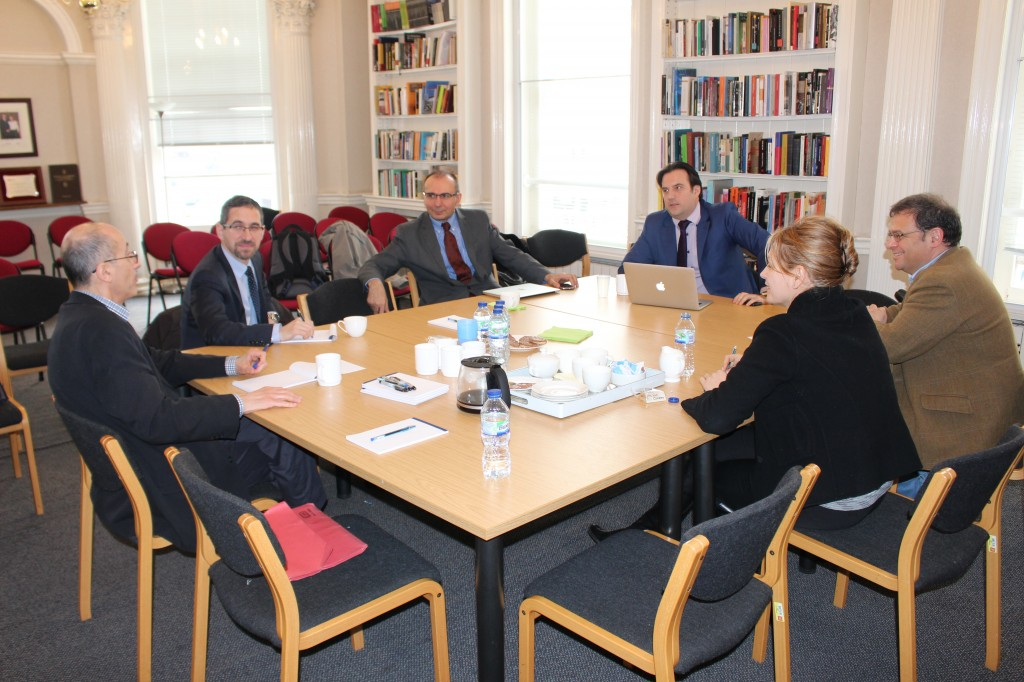 SEE energy roundtable hosted by LSEE Research on South Eastern Europe. From left to right: Gabriel Partos (EIU), Adnan Vatansever (King's College), Goran Strbac (Imperial College), Dimitar Bechev (LSE), Julian Popov (European Climate Foundation), Ana Stanic (lawyer specialising in energy).