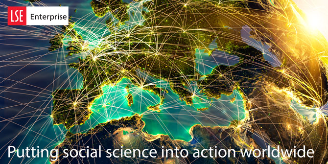 LSE Enterprise annual report cover: putting social science into action worldwide