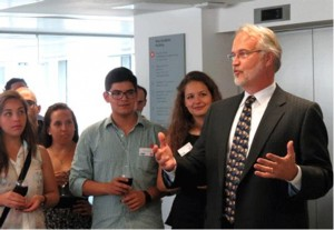 Craig Calhoun speaking to a group of students