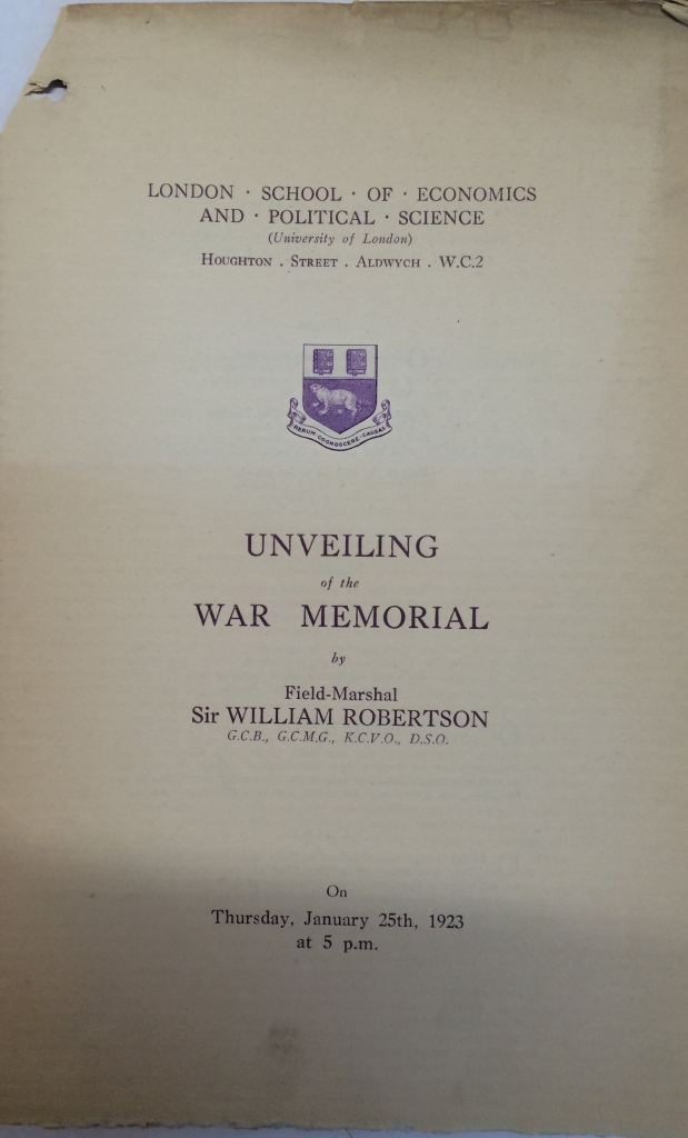 The programme for the unveiling of the war memorial at LSE in 1923