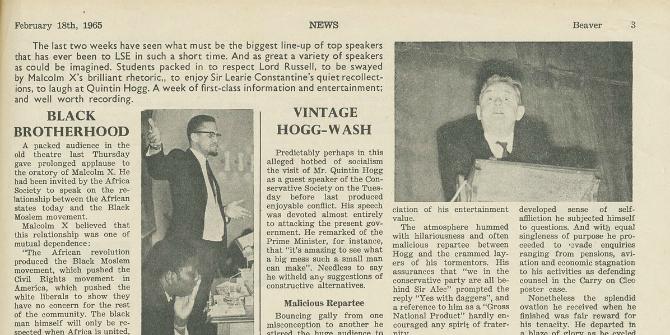 'Brilliant rhetoric' – Malcolm X at LSE, 11 February 1965