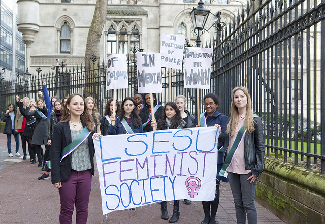 LSESU Feminist Society, recreating the suffragette march, 2014