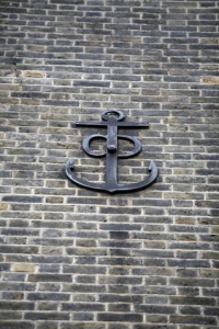 Cast iron anchor on the front of the Anchorage