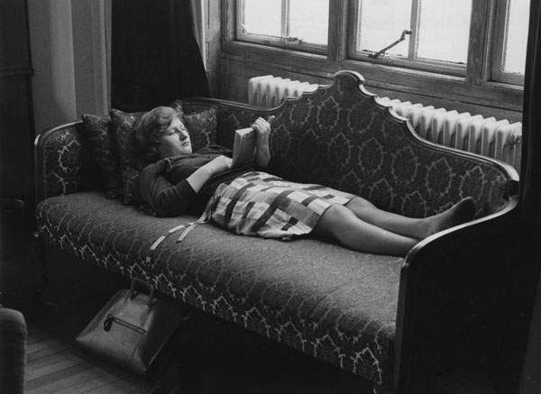 Student reading in the Shaw Library, 1964