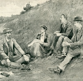 Drawing by Bertha Newcombe of the Borough Farm breakfast of 4 August 1894, as reproduced in The Sketch magazine, 17 July 1895 Wallas/15/2