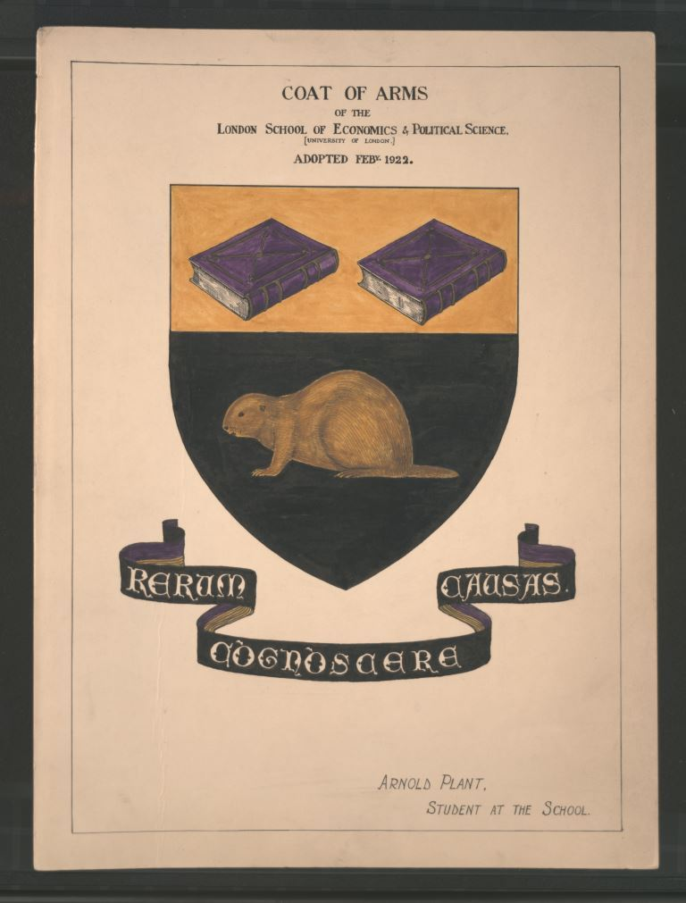 LSE's coat of arms drawn and coloured by Arnold Plant, student and later Professor of Commerce at LSE, 1922 LSE/Unregistered/25/6/1