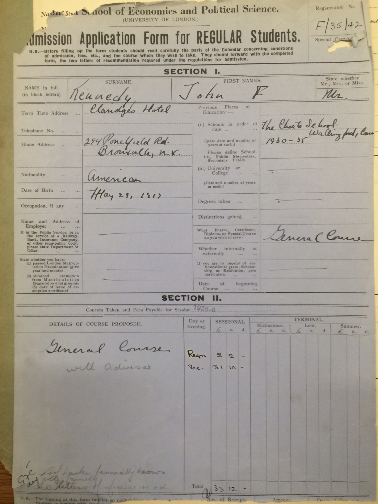 JFK LSE application form