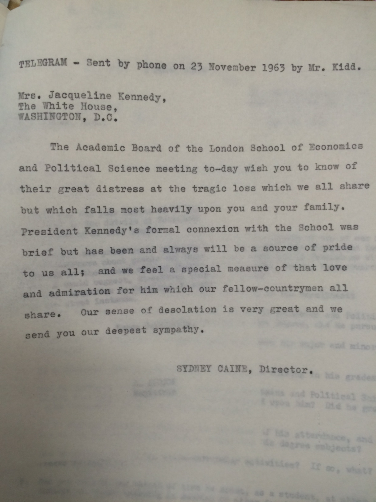 LSE letter of condolence to Jacqueline Kennedy, 1963