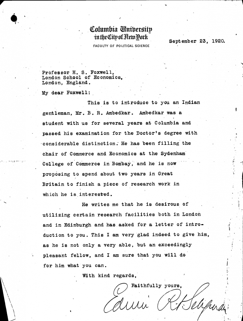 Letter from Seligman to Foxwell 1920