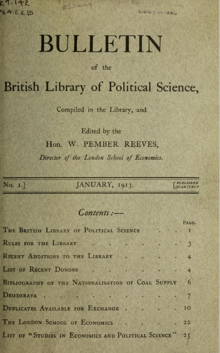 Bulletin of the British Library of Political Science 1913, contents page