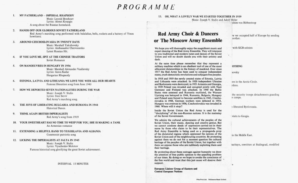 Mock concert programme circulated in protest against the visit of the Red Army Ensemble to the UK, 1971. ELG/3 folder 6.