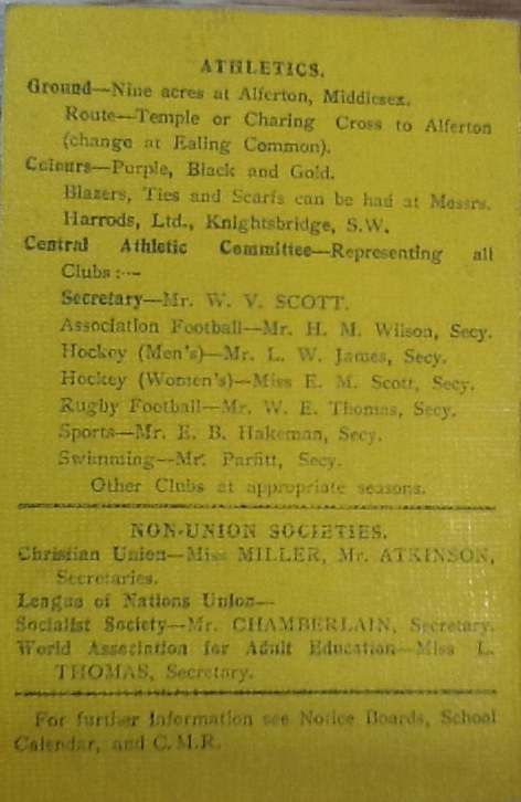 Athletics Union details, 1919