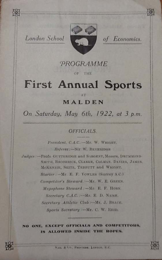 LSE Sports Day, Malden, 1920s