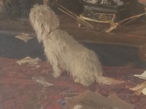 The Webb's dog in the Webb portrait