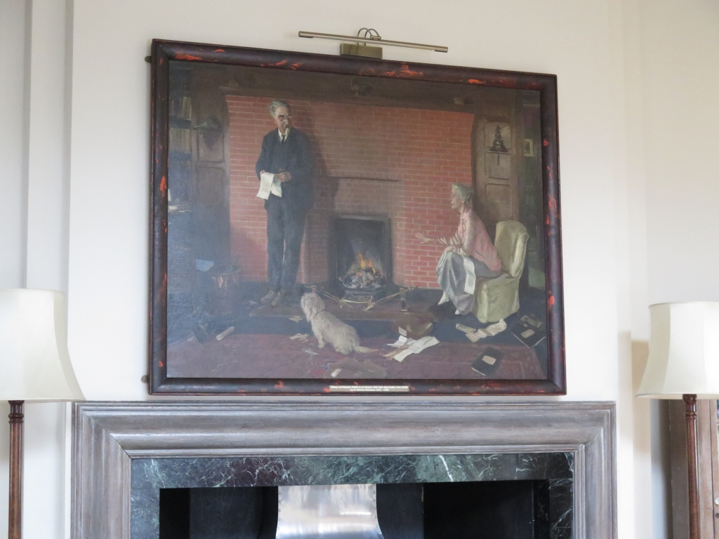 The Webb portrait above the fireplace in the Shaw Library, by Sue Donnelly