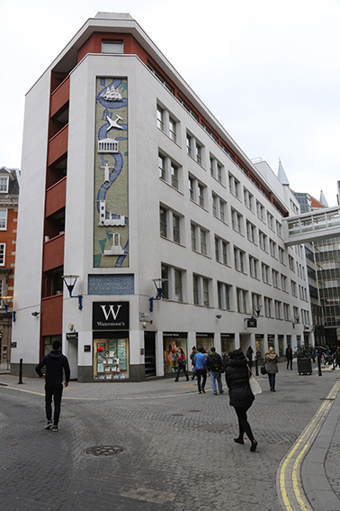 Harry Warren Wilson's mural on LSE St Clement's building on the corner of Portugal Street and Clare Market.