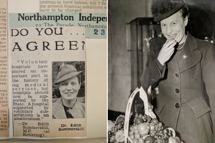 Edith Summerskill newspaper clipping and photograph, date unknown.jpg