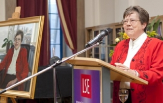 Professor Judith Rees speaking at the reception in the Shaw Library after the unveiling of her portrait by the artist Mark Roscoe. 5th June 2013. The portrait will join the portraits of other former LSE Directors on the walls of the Shaw Library.