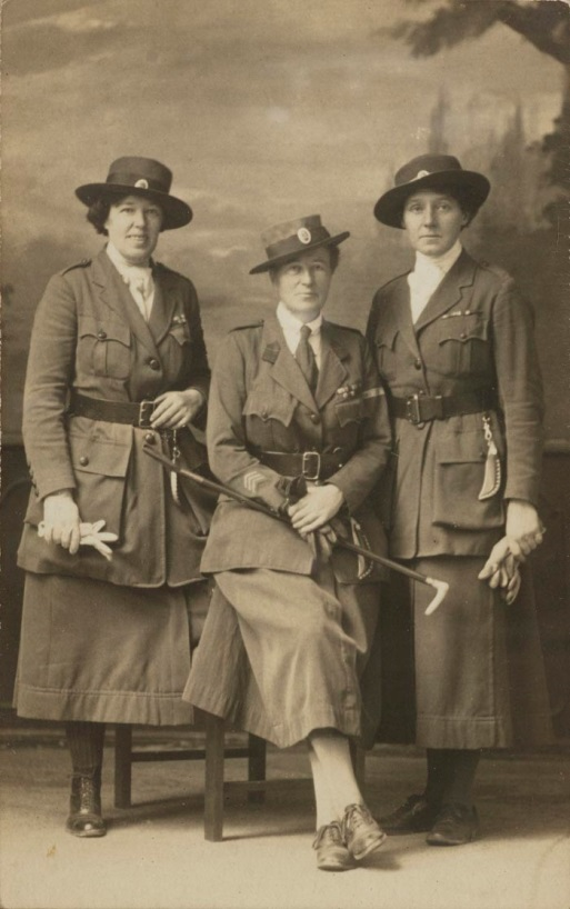 Jack on the left and Eve sitting, in Scottish Women's Hospital uniform. C1915