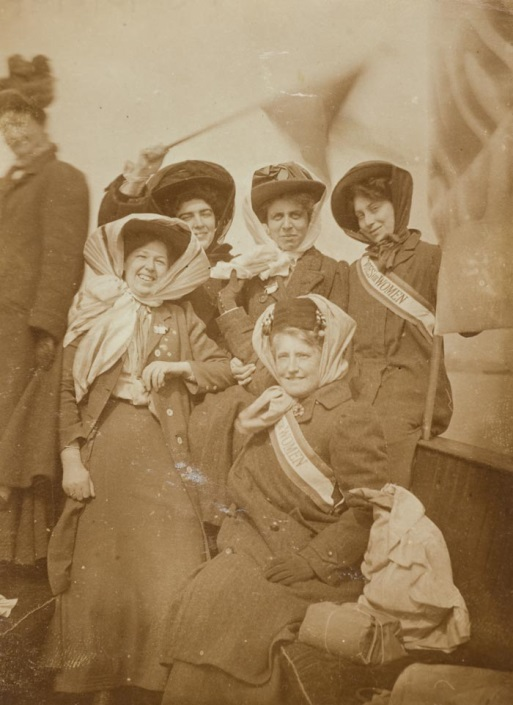 Vera Jack Holme, front left, with the Women's Social and Political Union, 1909